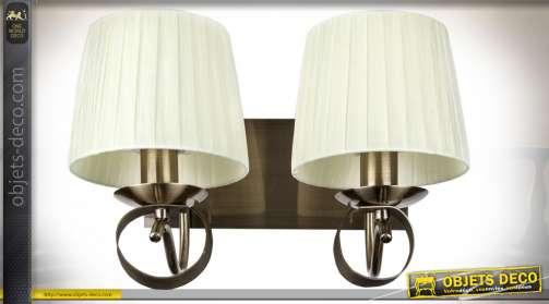 Applique en métal et tissu, coloris beige clair et bronze cuivré foncé avec un support double pour ampoules de type E14