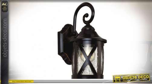 Lanterne suspendue avec potence, en aluminium finition noir style vintage