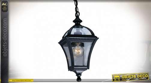 Lanterne rétro en suspension en verre et aluminium finition noire