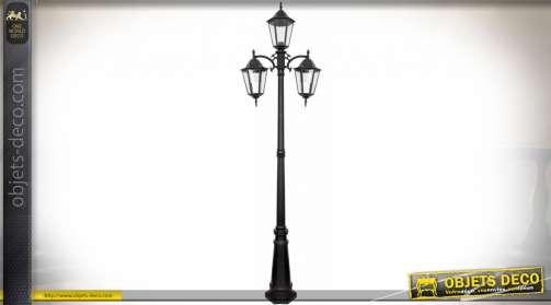 Lampadaire en forme d'ancien réverbère de rue, en aluminium et verre, finition noir antique