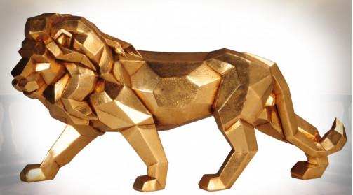 Grande statuette en résine finition effet métal doré représentant un lion avec stylisation origami