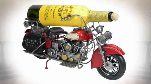 Objet décoratif porte-bouteille en forme de vieille moto en métal style ancienne Harley Davidson