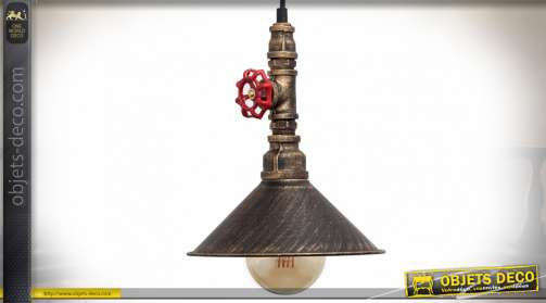 Suspension en métal de style industrielle avec vanne rouge de sécurité et éléments de tuyauterie industrielle effet cuivre doré vieilli et noirci