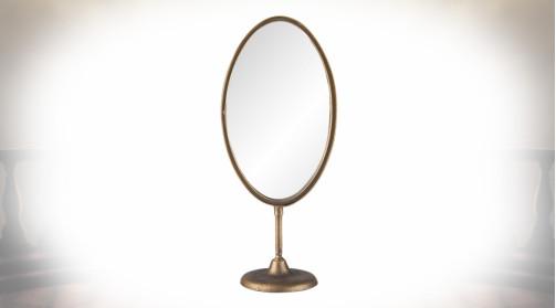 Miroir de table ovale de style vintage sur pied, finition noir et cuivre doré