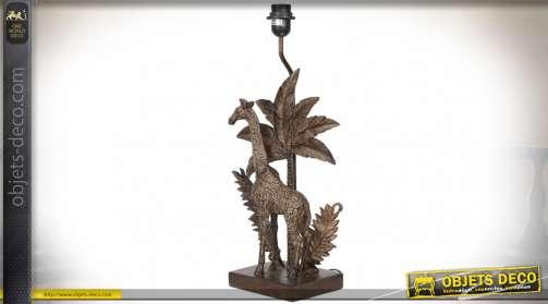 Grand pied de lampe en polyrésine scène animalière girafe et palmier imitation bronze doré ancien