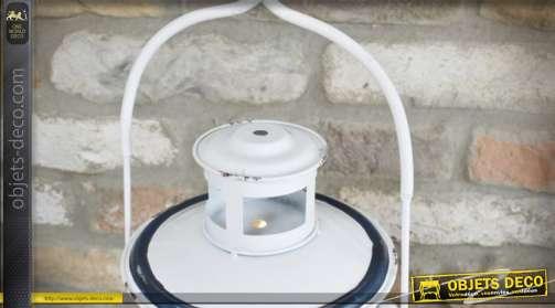 Lanterne à poser ou à suspendre de style rétro en métal patine blanche ancienne forme lampe tempête
