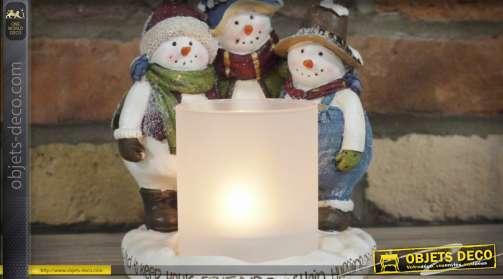 Décoration de Noël porte-bougie avec trois bonshommes de neige