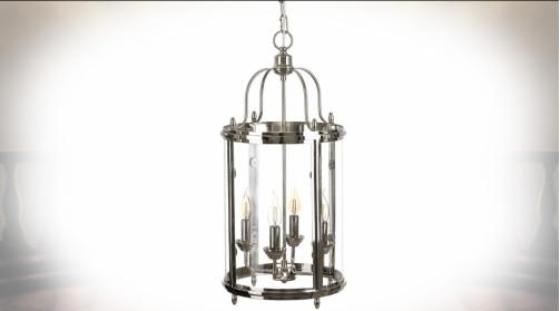 Suspension de style classique en forme de grande lanterne cylindrique en métal finition chromée avec bloc d'éclairage 4 points de lumière