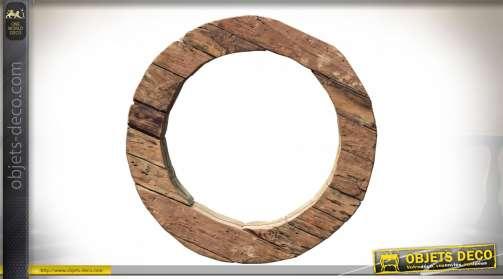 Miroir circulaire avec encadrement en pièces de bois exotique brut, épaisseur 10 cm