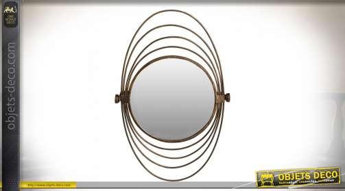 Miroir mural en métal doré vieilli rond avec cadres en métal concentriques de forme ovale