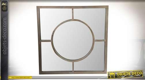 Miroir de style contemporain à encadrement carré en laiton bronze et vieilli