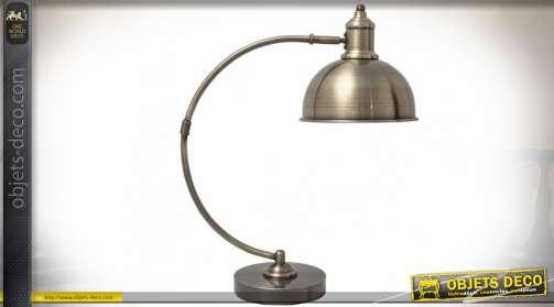 Lampe de bureau rétro avec bras en métal galbé, finition bronze doré