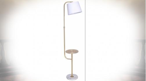 LAMPADAIRE MÉTAL MARBRE 38X30X165 PETITE TABLE