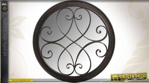 Miroir rond en fer forgé patine métal à l