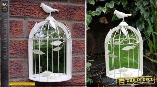 Miroir décoratif en forme de cage à oiseaux coloris crème
