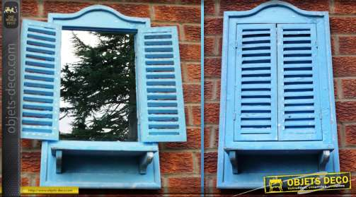 Miroir fenêtre en bois coloris bleu clair avec volets en persiennes 70 cm