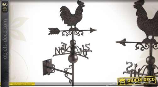 Girouette pour fixation murale avec points cardinaux et coq, en fonte finition marron antique