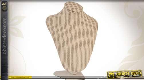 Buste décoratif à poser en tissu à rayures