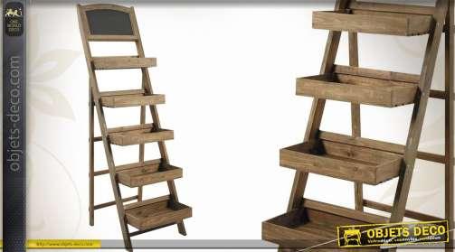 Etagère présentoir en bois en escalier à 5 paliers