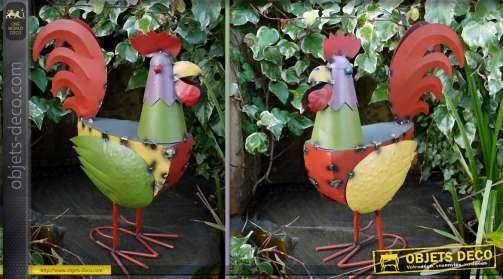Grand coq décoratif en métal style éclectique multicolore