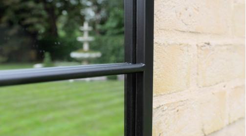 Miroir d'intérieur ou extérieur en forme de fenêtre, effet 12 carreaux, finition charbon noir