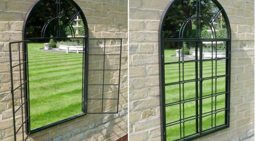 Miroir en métal finition charbon, positionnable en intérieur ou extérieur, forme arrondie effet cintrée