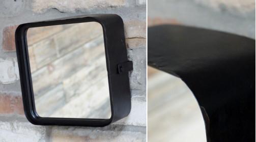 Miroir style ancien vestiaire en métal finition noir ancien, oxydé