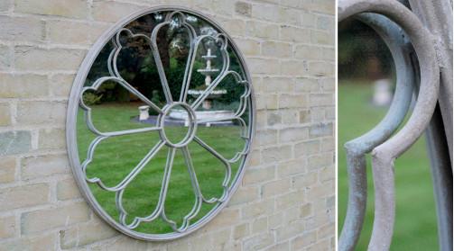 Miroir rond Ø80cm, en métal esprit fenetre avec idée de grille fer forgé en partie frontale