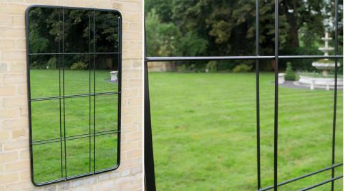 Grand miroir fenêtre en métal, finition noir charbon, ambiance verrière d'atelier