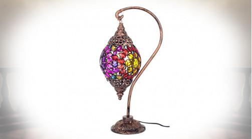 Lampe à poser originale en métal et acrylique, ambiance milles et unes nuits, 55cm