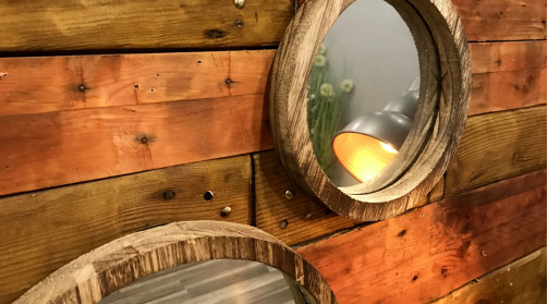 Série de miroirs déco en avec encadrements en bois brut, 3 dimensions, effet composition murale