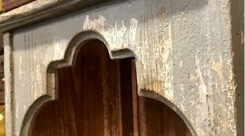 Porte bougie mural en bois et miroir en verre, en forme de porte style oriental