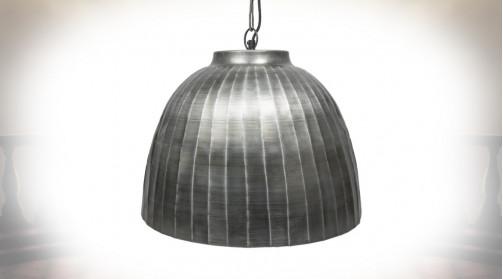 Grande cloche lumineuse en métal finition effet vieilli, ambiance indus / vieille ferme
