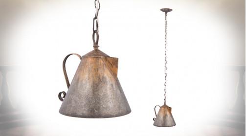 Suspension vintage en métal en forme d'ancienne bouilloire, déco ancienne originale