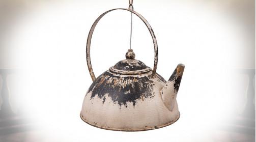 Luminaire original en métal en forme d'ancienne bouilloire, finition rouillée vieilli
