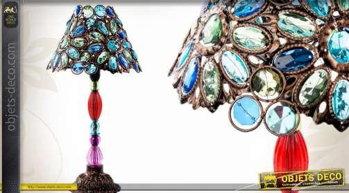 Luminaire Exotique. Lampe Exotique En Brillants De Verre Et Mtal