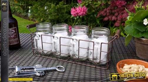 Support en métal style brocante avec quatre pots en verre à anses