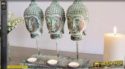 Bouddhas porte-bougies finition vert à l'ancienne