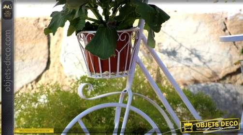 Vélo décoratif jardinière porte-plante en métal coloris crème