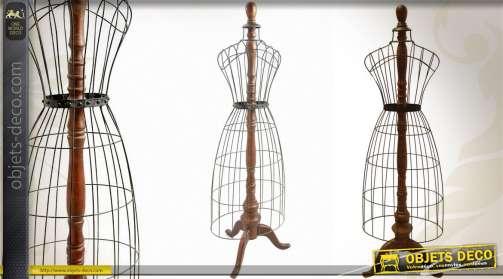 Mannequin style brocante en bois et métal