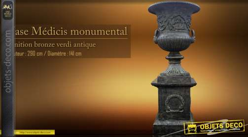 Vase Médicis monumental finition bronze verdi