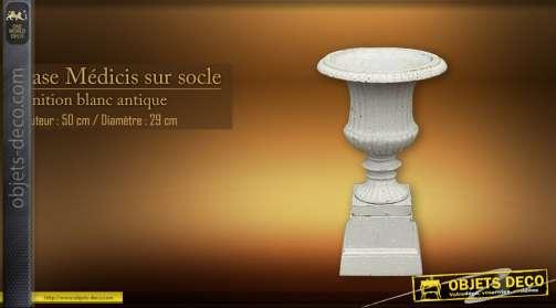 Vase Medicis blanc antique 50 cm