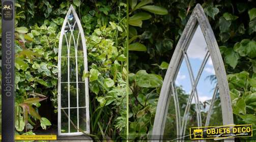 Miroir de style rétro en forme d'arche finition blanc antique 100 cm