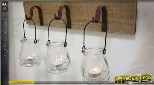Support murale rustique en bois et métal avec 3 supports en verre pour bougies