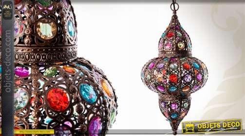 Grande lanterne suspendue de style oriental avec cabochons translucides colorés à facettes