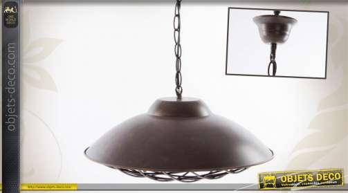Suspension en métal effet vieilli style industriel