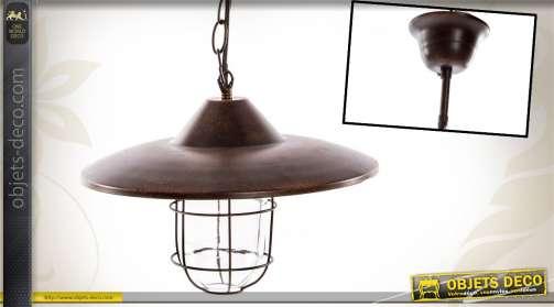 Luminaire suspendu d'atelier d'autrefois en métal coloris marron oxydé