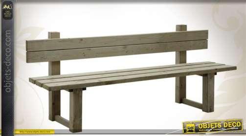 Grand banc de jardin ou de parc en bois, avec traitement autoclave spécial extérieur. Longueur : 2 mètres.