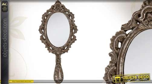 Miroir de style rétro imitation métal ancien de forme ovale avec manche