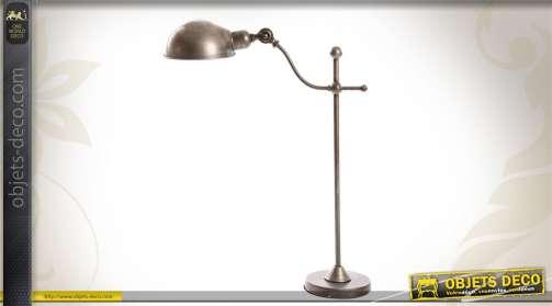 Lampe de bureau en métal effet brossé et vieilli, coloris acier